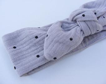 Bandeau / headband gaze de coton beige et petits pois noirs