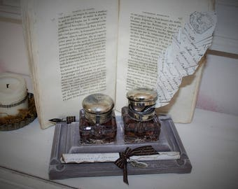 Double Inkwell of yesteryear and decorative elements of writing