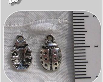10 METAL LADYBIRD charms silver TIBET 12x7mm silver * B28