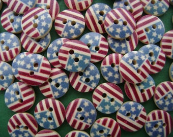 Banner States wooden buttons - USA