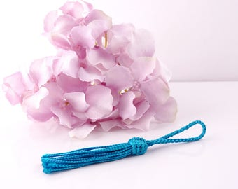 Tassel silk tassels from Morocco 9 cm - electric turquoise color (PAM188)