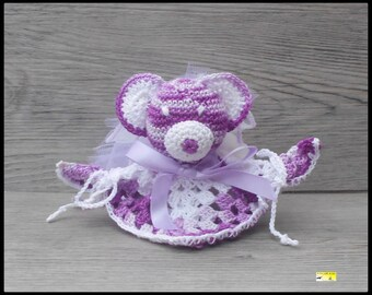 10 wears plush teddy bear purple and white for christening, birthday favors