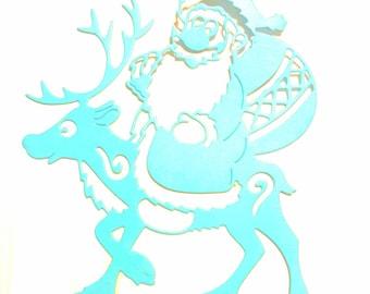 Santa Claus with his reindeer scrapbooking cutting