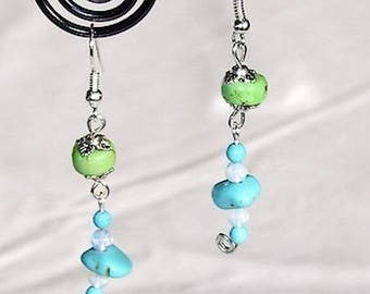 "Turquoise earrings natural ""spring butterfly"" baptisees / BO ETH5"