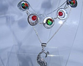 Choker necklace Silver 925, round frames handcrafted multicolored cabochons and metal chains