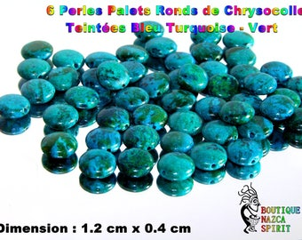 6 haematite round 1.2 cm Chrysocollas dyed turquoise - Green