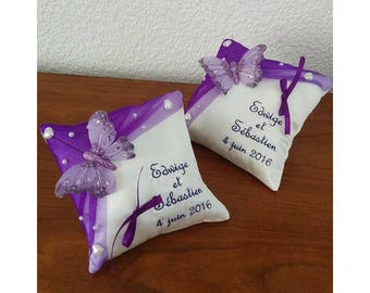 Pillow set of two purple / violet - Butterfly theme