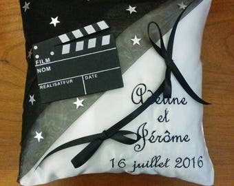ring pillow - wedding theme in black and white film