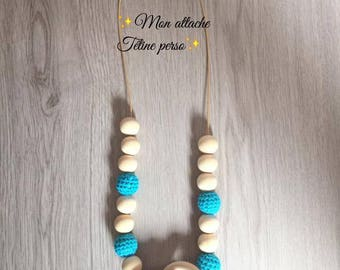 breastfeeding and Babywearing necklace ~ natural and turquoise pattern