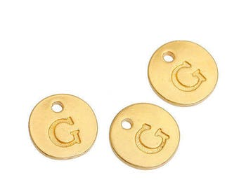 Letter G - Pendant 12mm gold gilt