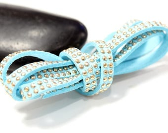 Sky - Suede studded cord double Gold 5mm