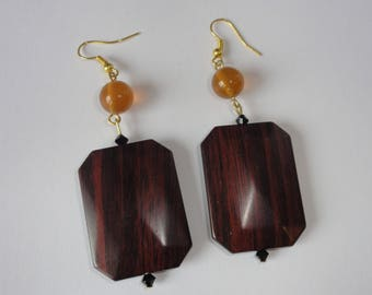 Wood effect rectangle earrings