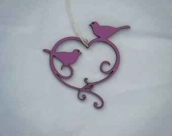 Mini heart and birds in woodcut