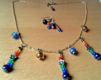 Rainbow bathmat mind set and earrings