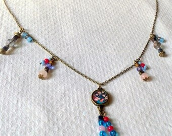 girly pink, turquoise and bronze necklace