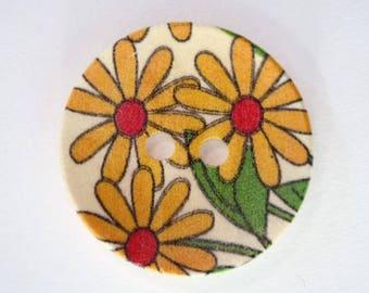 30mm 23-001777 yellow flower wooden button