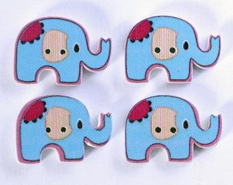 Elephant set of 10 wooden buttons: Blue - 002225