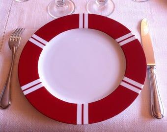 Assiette porcelaine de table Diamètre 26 cm peinte à la main