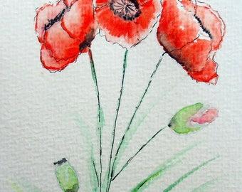 """Postcard"" poppies ""original watercolor painting"