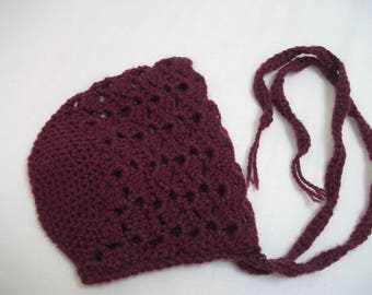 Crush Eggplant color, baby crochet lace 1/3 months