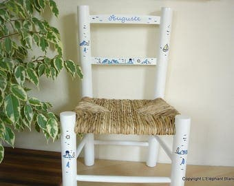 Decorated white straw child Chair handmade in your child's name