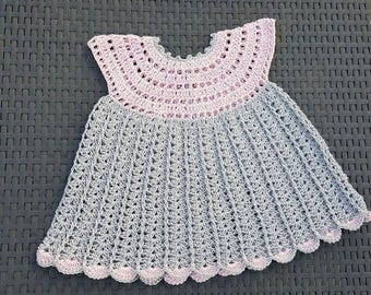 Cotton Baby dress pink and grey 3/6 months