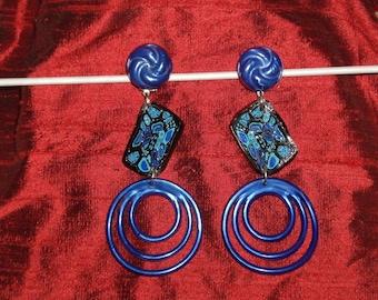 Klimt style blue clip earrings