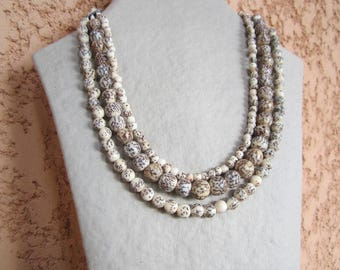 Necklace triple strand royal Palm seed