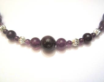 Silver plated Amethyst necklace adorned with ridged balls
