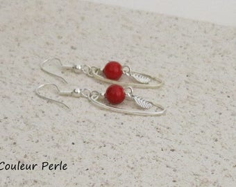 Red earrings, red glass beads, silver leaves/feathers, oval, small and charming earrings