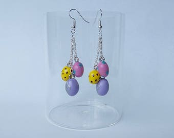 "Earrings ""Easter eggs"" Purple, yellow and pink"