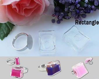 10 glass RECTANGLE 27X17MM bubbles fill cabochon dome globe ball snow + SUPPORT ring