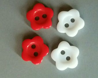 set of 4 small buttons flowers red and white