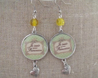 SALE earrings yellow cabochon bead 25mm I am a Princess
