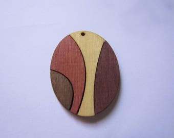 wooden oval pendant 42mmx33mm