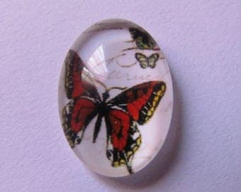 various oval glass cabochon patterns 18mm * 13mm butterfly theme