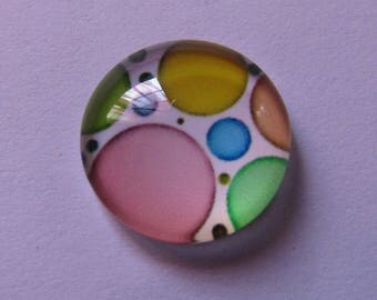 1 cabochon glass 14mm round theme of all colors