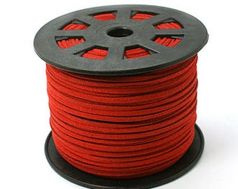 Suede cord red 3mm wide 1.5 mm thick