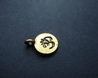 2 Mantra Aum Ohm symbol Yoga 11 mm gold tone pendant charms
