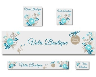 Turquoise floral elegant banner for Etsy Shop
