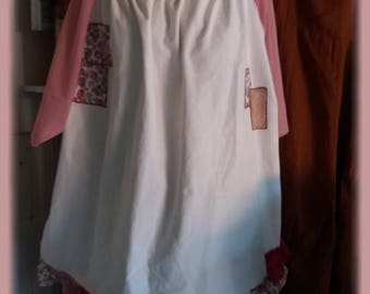 ruffled tunic loose shabby linen and voile cotton