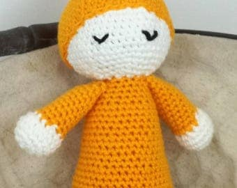 Orange blanket for baby and new born (the Angel of the cradle) crocheted in cotton