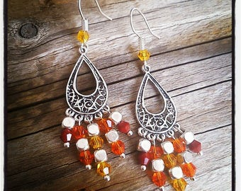 Earrings silver and orange, yellow, red glass faceted beads