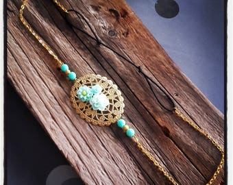 Vintage green cabochon flowers and gold lace headband HeadBand