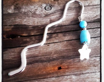 Bookmark silver charm turquoise beads and Star