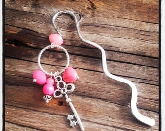 Silver charm bookmark pink beads