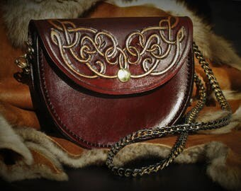Fairy arabesques genuine tooled leather clutch handbag