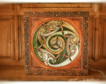 "Light ambience decorating ""Boite à stained glass"" Celtic framed embossed leather."