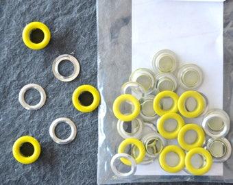 Sachet de 20 OEILLETS métalliques ARGENTES et JAUNE 6mm à poser