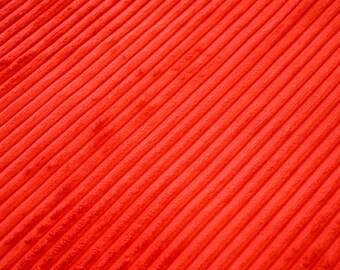 Fabric velvet ribbed bright red